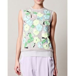 DVF Yvan Floral Embellished Shell Blouse \\ Sz 6